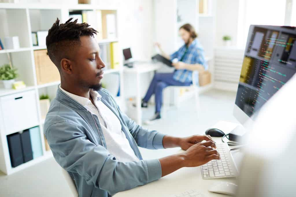 IT professional working at computer